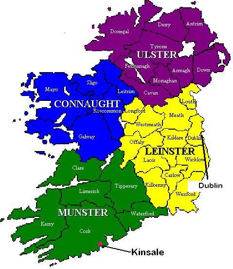 Map showing Kinsale &Dublin