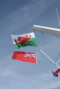 We watched them raise the Welsh flag as we got close to port.