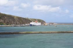 Our ferry in the harbor in Fishguard, Wales.