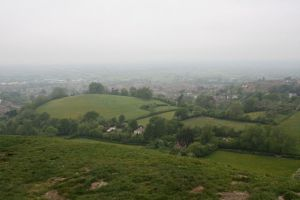 View from half-way up Glastonbury Tor.  Cloudy day.