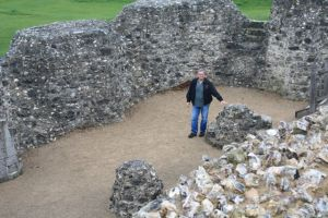 Blaik in some building remnants at Old Sarum.
